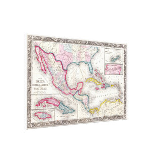 Mexico, Central America and Caribbean Map (1860) Canvas Print