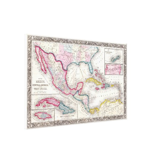 Mexico, Central America and Caribbean Map (1860) Canvas