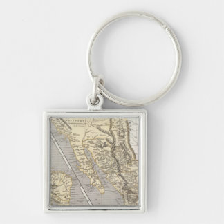 Mexico, Central America Silver-Colored Square Key Ring