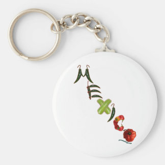 Mexico Chili Peppers Basic Round Button Key Ring