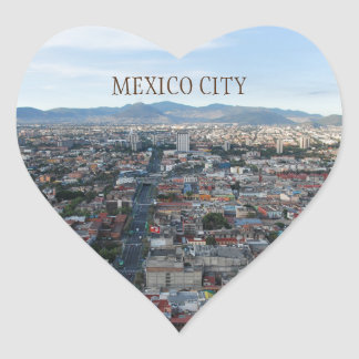 Mexico City, aerial view looking north Heart Sticker