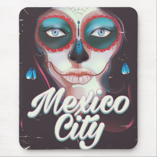 Mexico City Day of the Dead travel poster Mouse Mat
