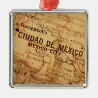 MEXICO CITY Vintage Map Christmas Ornament