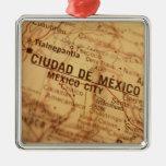 MEXICO CITY Vintage Map Silver-Colored Square Decoration