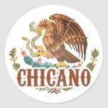 Mexico Coat of Arms Chicano Round Sticker