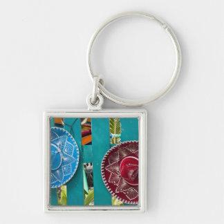 Mexico, Cozumel. Souvenirs in Isla de Cozumel Silver-Colored Square Key Ring