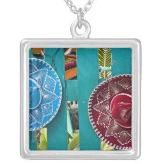 Mexico, Cozumel. Souvenirs in Isla de Cozumel Square Pendant Necklace