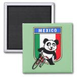 Mexico Cycling Panda Square Magnet