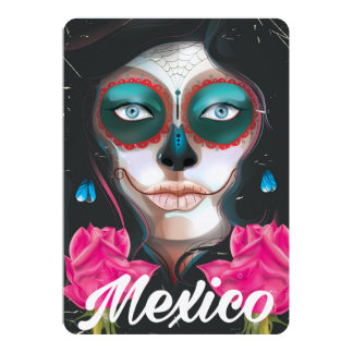Mexico day of the dead vacation poster card