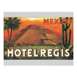 Mexico Ds Hotel Regis, Vintage 21.5 Cm X 28 Cm Flyer