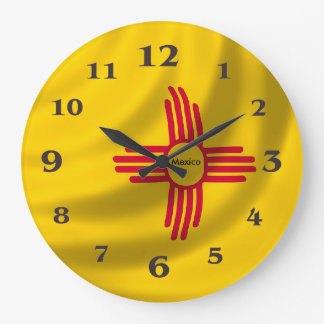 Mexico flag for Round-Large-Wall-Clock Large Clock