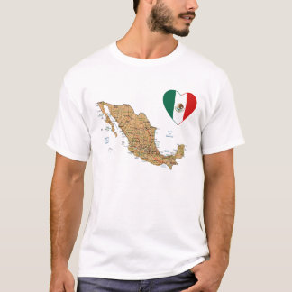 Mexico Flag Heart and Map T-Shirt