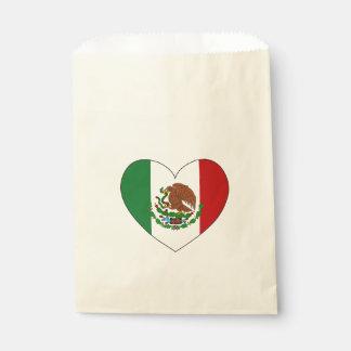 Mexico Flag Heart Favour Bags