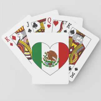 Mexico Flag Heart Playing Cards