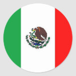 MEXICO FLAG - NATIONAL MEXICAN FLAG ROUND STICKER