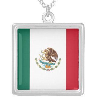 Mexico Flag Sterling Silver Necklace