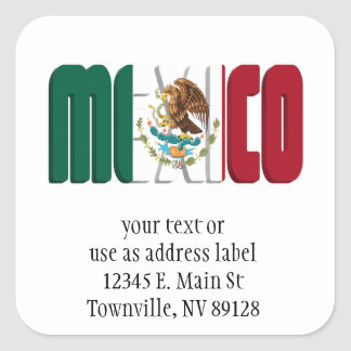 Mexico Flag Text Image Square Sticker