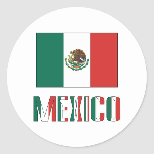 Mexico Flag & Word Classic Round Sticker