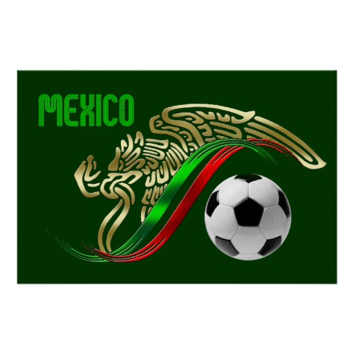 Mexico Futbol soccer Eagle and snake Mexican flag Print