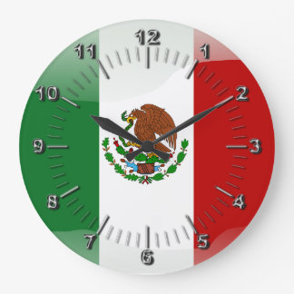 Mexico glossy flag large clock