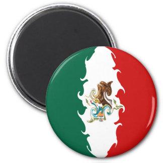 Mexico Gnarly Flag 6 Cm Round Magnet