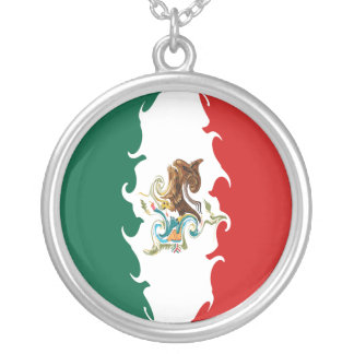 Mexico Gnarly Flag Round Pendant Necklace