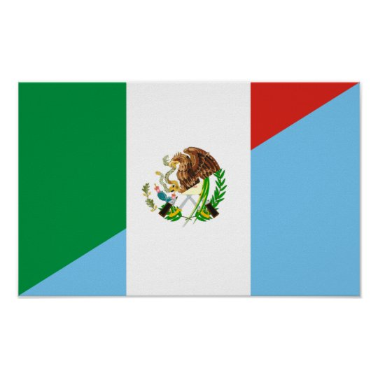 mexico guatemala half flag country symbol poster