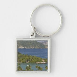 Mexico, Guerrero, Zihuatanejo. Playa Las Gatas- Silver-Colored Square Key Ring