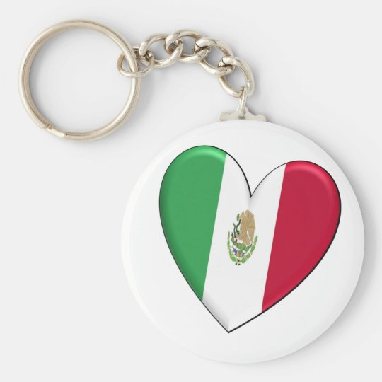 Mexico Heart Flag Keychain