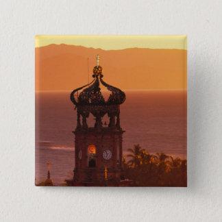 Mexico, Jalisco, Puerto Vallarta. Church tower 15 Cm Square Badge