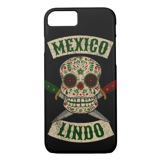 Mexico Lindo. Mexican skull with daggers (vintage) iPhone 8/7 Case