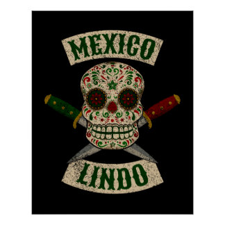 Mexico Lindo. Mexican skull with daggers (vintage) Poster
