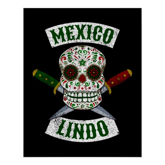Mexico Lindo. Mexican skull with daggers (white) Poster