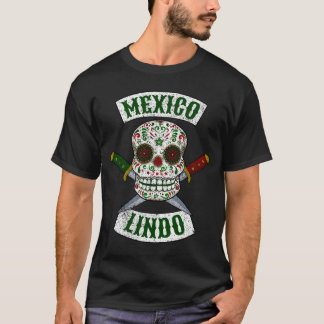 Mexico Lindo. Mexican skull with daggers (white) T-Shirt