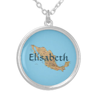 Mexico Map + Name Necklace