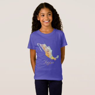 Mexico Map Watercolor Girls' T-Shirt