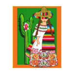 mexico,mexican girl,naive stretched canvas print