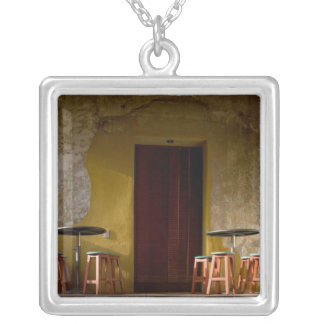Mexico, Oaxaca, Afternoon sun lights balcony of Silver Plated Necklace