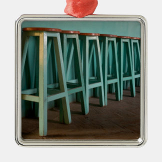Mexico, Oaxaca, Green Bar Stools line wall Christmas Ornament