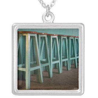 Mexico, Oaxaca, Green Bar Stools line wall Silver Plated Necklace