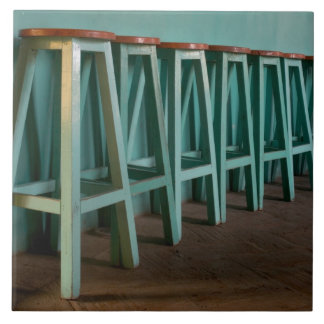 Mexico, Oaxaca, Green Bar Stools line wall Tile