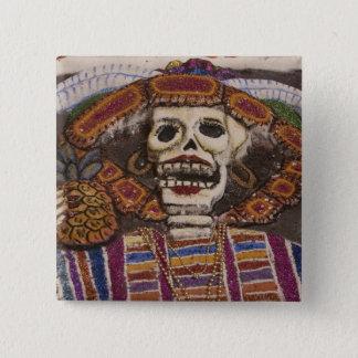 Mexico, Oaxaca. Sand tapestry (tapete de arena) 15 Cm Square Badge