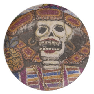 Mexico, Oaxaca. Sand tapestry (tapete de arena) Plate