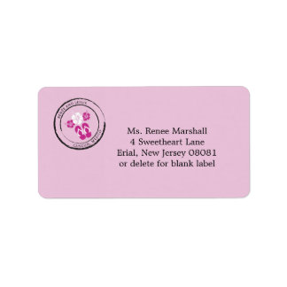 Mexico Passport Stamp with Hibiscus Flowers Address Label