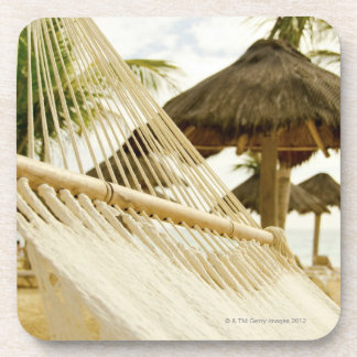 Mexico, Playa Del Carmen, hammock on beach Coaster