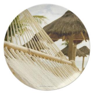 Mexico, Playa Del Carmen, hammock on beach Plate