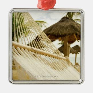 Mexico, Playa Del Carmen, hammock on beach Silver-Colored Square Decoration