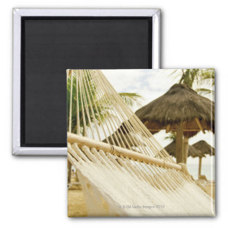 Mexico, Playa Del Carmen, hammock on beach Square Magnet
