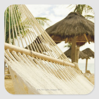 Mexico, Playa Del Carmen, hammock on beach Square Sticker