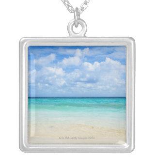 Mexico, Playa Del Carmen, tropical beach Square Pendant Necklace